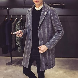 Fashion Casual Slim Striped Single Breasted Overcoats High-end Brand Long Tranch Jacket Male Mens Autumn Winter Warm Wool&Blends