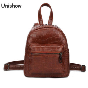 Unishow Vintage Stone Women Backpack Mini Zipper Female Backpack Small Women Shoulder Bag Girl Travel