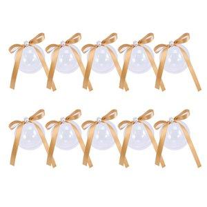 10pcs Süßigkeit-Kästen transparente Kugel Bowknot-Perlen-Süßigkeit Aufbewahrungsbehälter für Hochzeit (Champagne)