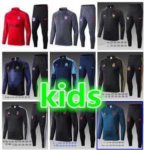 2020 bambini Marsiglia Barcellona Calcio Giacca Tuta PSG Francia 19 20 Top Quality Giacca pantaloni di addestramento pre-partita Inverno Palloni Kit