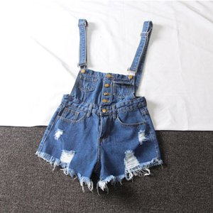 Women Summer Denim Jumpsuit 2020 High Waist Hole Ripped Bandage Jumpsuit Overalls for Womens Rompers Wide Leg Cotton Playsuits T200704