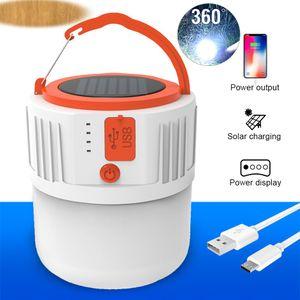 전원 은행 정전 비상 램프를위한 HOT 2020 NEW USB 태양 광 충전 빛 에너지 절약 전구 야시장 램프 모바일 야외 캠핑