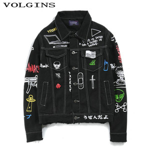 Hip Hop Giacca di jeans casuali dimagriscono i jeans adatti rivestimento dei vestiti 2019 autunno Uomini Bomber cappotto Streetwear Printed Uomo