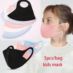 5pcs bag Kids Designer Mask Black pink blue summere mouth Face Cover PM2.5 Mouth Masks Respirator Reusable Washable Protective Party Masks
