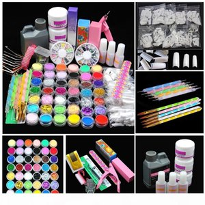 Pro Acrylic Power Manicure Nail Kit Acrylic Tips Cutter Glitter Rhinestones File Brush Manicure Nail Art Tool Set Gel Kit