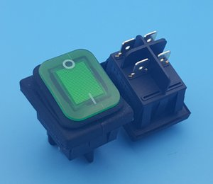 100 Unids Impermeable IP67 DPST On-Off 4Pin Green Lamp Rocker Switch 16 (10) A 250VAC
