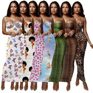 Designer Bodycon Vestidos magro magro Strap Spaghetti Envolvido Peito Verão Lond vestido floral Womens Verão Leopard