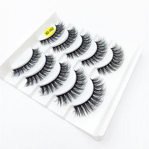 2020 NEW 5pairs 100% Real Mink Lashes 3D Natural False Eyelashes 3d Mink Lashes Soft Eyelashes Extension Makeup Kit