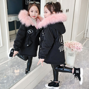 Girl Winter Coat Cotton Jacket 2020 New Fashion Hooded Big Fur Collar Plus Velvet Warm Padded Jackets High Quality