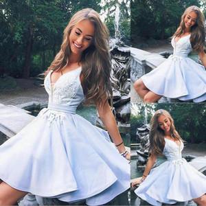 2020 graduation Burgundy Red Light Sky Blue Cute v neck lace short prom dress homecoming dress