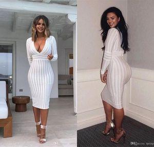 2020 blanco atractivo del cuello en V profundo partido de las mujeres de la envoltura de Bodycon de los vestidos de manga larga vestido delgado lápiz Stripped Wemen Vestidos 2671