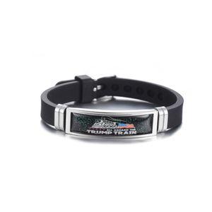 Adult Trump Train Bracelet 2020 US America president Election Trump Colorful Stainless Steel Silicone Strap Bracelets Wristband LJJA4103
