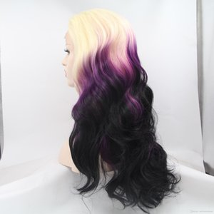 L Sexy Cosplay Long Body Wave Wig Glueless Ombre Purple Synthetic Lace Front Wigs With Bangs 180 %Density Heat Resistant Fiber Wigs For