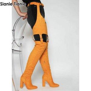 Sianie Tianie Sexy высокие сапоги зима выше колен пинетки Over-The-Колено Высокие каблуки обувь женщина талии пряжки ремень брюки сапоги