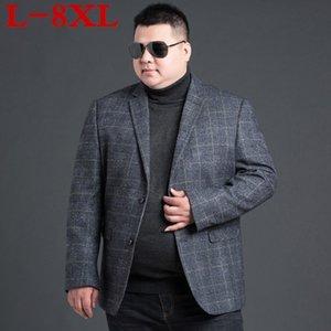 Abiti da uomo Blazers Plus Size 8xL lana uomini su misura resa di lusso moda plaid astuto casual business per uomo, giacca da uomo su misura
