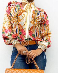 Bufanda de cuello de estampado barroco blusas top mujeres retro impresión linterna manga blusa camisa elegante oficina camisa camisa moda blusa mujer