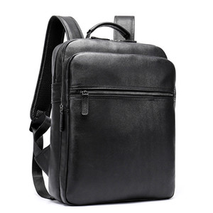 Cuero auténtico Mochila College School Negro para hombre de la vendimia de 14 pulgadas portátil de alta calidad bolsa, marca de Viajes de Negocios Mochila