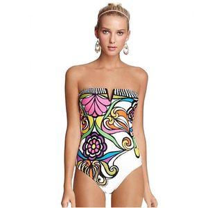 Лето с нами Новыми Женщинами Купальников всего тела Bodysuit девушка Спортивной Купальники Sexy Beach Бикини Середина талия Мульти Красочной желтое трико печать
