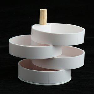 Japanese Creative Jewelry Storage Box Four-layer Rotating Storage Box with Stand, White, Round