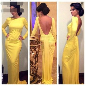2020 African Mermaid Sexy Prom Evening Dresses Yellow Long Sleeves Backless Prom Party Gown Plus Size Robe De Soiree
