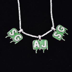 """Joyería de Hip Hop A-Z Nombre de encargo del verde epoxi burbuja gota Chain Letter Collares pendiente del Zircon de los hombres con 18"""" 20 mm Ancho de la cadena Enlace cubana"""