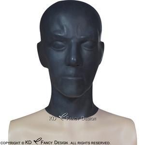 Black Anatomical Latex Hoods With Zipper At Back Open Nostril Rubber Masks TT-0149