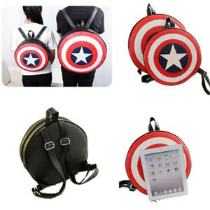 Junge Mädchen Captain America Schild Großer Rucksack Superheld-Schule-Beutel-adrette Art Studenten Knapsack Kreis Runde Schultertasche Paar Rucksäcke