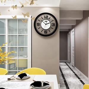 MEISD redondo simple transparente reloj de pared del diseño moderno silencioso grande del reloj de pared de cuarzo colgante de la sala de estar decoración del reloj