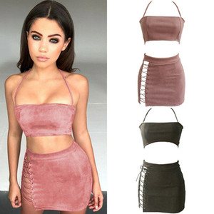 Women Solid Sleeveless Pink Army Green Dress Blackless Bodycon Two Piece Halter Lace Up Dresses Summer Sexy Party