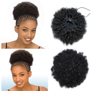 Afro Kinky bouclés queue de cheval avec cordon de serrage réglable pas cher 100% Clip de cheveux humains dans les extensions couleur naturelle 6 pouces