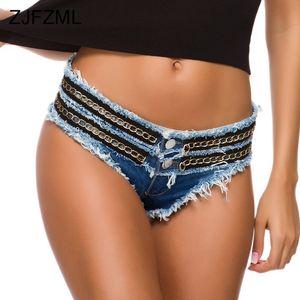 Pantalones cortos de mujer Cadena hueca Patchwork Jeans Denim Women Women Sexy Cintura baja Paquete HIP Mini Mini Verano Azul Ladies Beach Wear Bikini Bikini