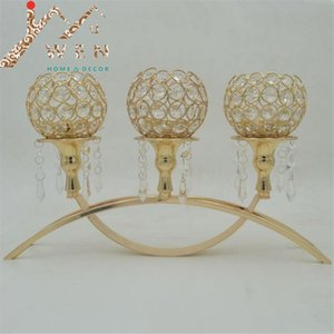 Top rated golden plated 3-arms metal candle holder with crystal pendants for home decoration or wedding candelabra