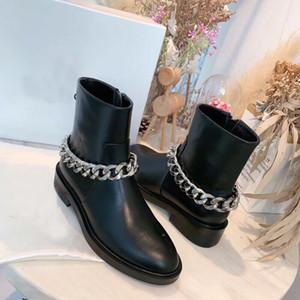 Vendita calda della catena Boots scarpe da donna autunno Catena di ferro moda Martin piatto stivaletti in pelle con cerniera stivali motociclo
