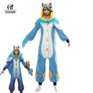 ROLECOS Jeu LOL Ezreal Cosplay costume pyjama gardien étoile Ezreal pyjama Cosplay Costume Pour Hommes combinaisons SetMX190923 complet