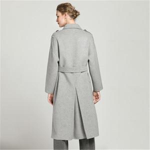 Frauen Wollmischungen Hohe Qualität Koreanische Version von doppeltem Kaschmir Mantel Weibliche 2021 Zweireiher Gürtel Lange feste Farbe