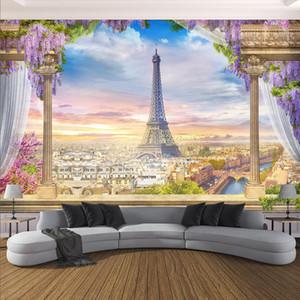 Özel Herhangi Boyut Fotoğraf Duvar kağıdı 3D Stereo Roma Sütun Paris Kulesi Resimleri Restoran Salon Yatak odası Backdrop Duvar Dekoru 3 D