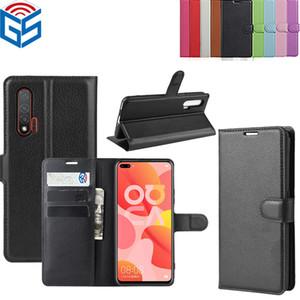 Nova 6 Nova 6 Se Litchi Premium-Leder-Buchschlag-Abdeckungsfall-Kartenhalter für Huawei Nova 5 Pro