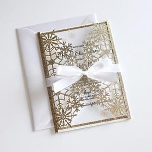 Convite do casamento do inverno Glitter, Convite do floco de neve Laser Cut, casamento elegante convida Ouro Convites do casamento do Glittery com Bow