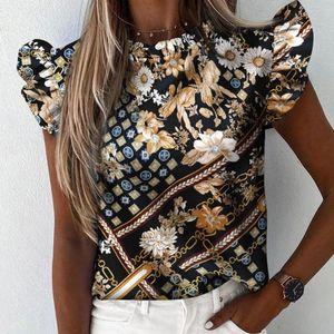 Feitong delle donne supera le camicette Boemia Abbigliamento Ananas Stampa Ruffle manica corta Plus Size Shirts signore dell'ufficio Camicetta Top