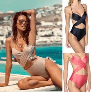 2020 Nuovo cross Swimwear Donne anteriore del ritaglio costume da bagno Backless Halter Beachwear S-XL Ragazze Croce Indietro Monokini One Suit pezzo