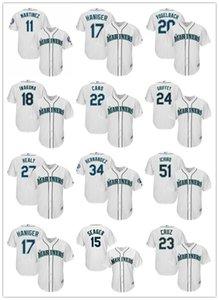 Seattle 51 Ichiro Suzuki 22 Robinson Cano 24 Ken Griffey Jr. Mariners Majestic Home Official Cool Base Player baseball Jersey