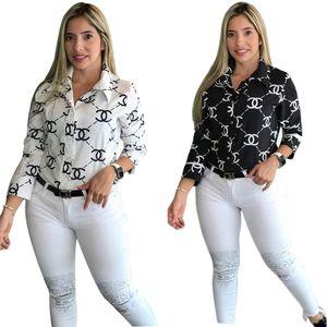 La nave libre 2020 nuevas mujeres forman a camisa de la impresión Casual Manga larga Girar Camisa con cuello de las tapas XXL