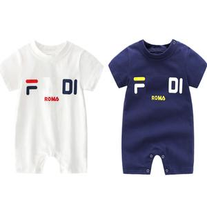 عالية الجودة الطفل الاطفال مصمم الملابس رومبير الصيف قصيرة الأكمام إلكتروني طباعة رومبير الملابس 100 ٪ القطن فتاة طفل 0-2 طن
