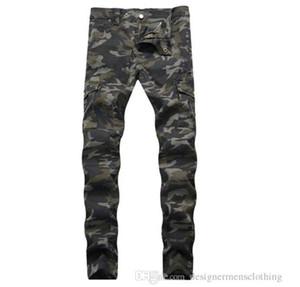 Ridée Slim Mid taille Hommes Jeans Armée Vert poches hommes droites Jeans avec fermeture éclair Mode Homme Vêtements