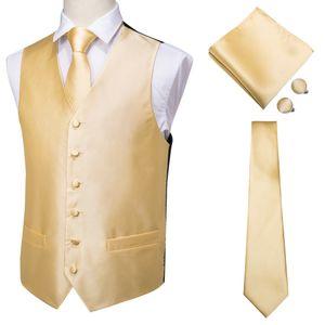Clássico Solid Gold Silk Homens de oi-Tie Jacquard Colete Vest Handkerchief Abotoaduras partido Laço casamento Vest Suit Set MJ-0002