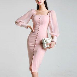 Femmes Robes Femmes Vêtements Designer 2019 Nouveau élégant à manches longues col carré rose dentelle mince Robe moulante Robe formelle Automne