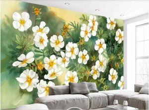 3d комната обои на заказ фотообои живопись масляными красками белые цветы цветок растение акварель тв обои обои для стен 3 d