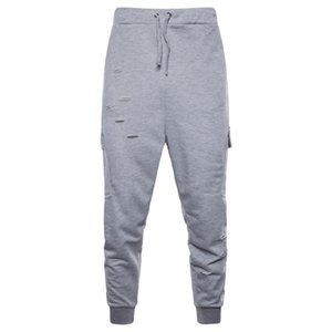 Mens Designer Hole Pencil Pants Hip Hop Elastic Waist Pants Casual Active Fashion Mens Jogger Clothing