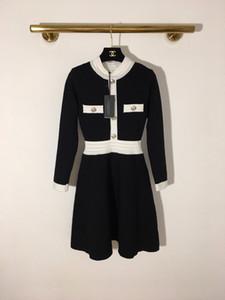 High End 2020 Siyah Beyaz Patchwork Uzun Kadın Elbise Lüks Metal Düğmeler Tasarımcı Modelleri Kadın 202.006