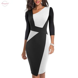 Vintage Women Patchwork Asymmetrical Collar Dress Elegant Casual Work Office Sheath Slim Dress Eb517 Drop Shipping